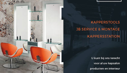 1e Flyer Kappersstation kapsalon producten en interieur
